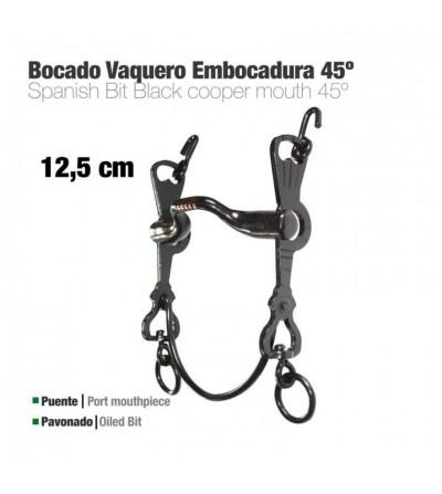 Bocado Vaquero Embocadura 45º 3C Pavonado 12.5 cm