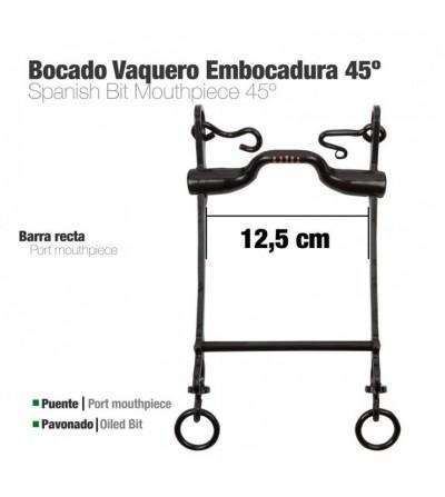 Bocado Vaquero Embocadura 45º 3G Pavonado 12.5 cm