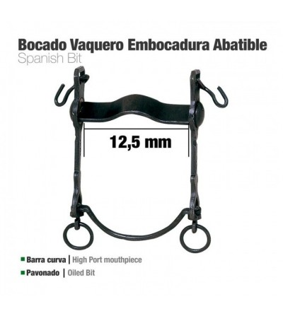 Bocado Vaquero B/Curva Embocadura Abatible 12.5 cm