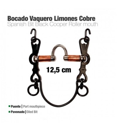Bocado Vaquero Limones Cobre 5C Pavonado 12.5 cm