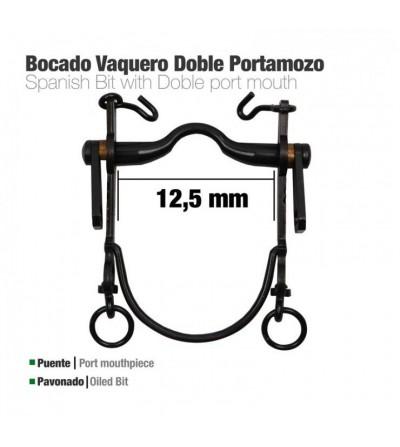 Bocado Vaquero Doble Portamozo Pavonado 12.5 cm