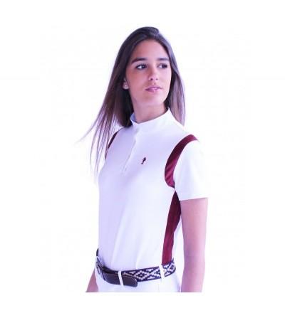 Polo de Competición Mujer Blanco Costado Burdeos