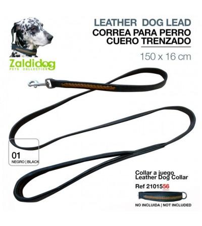 Perro Correa de Cuero Trenzado 150 cm x 16 mm Negro