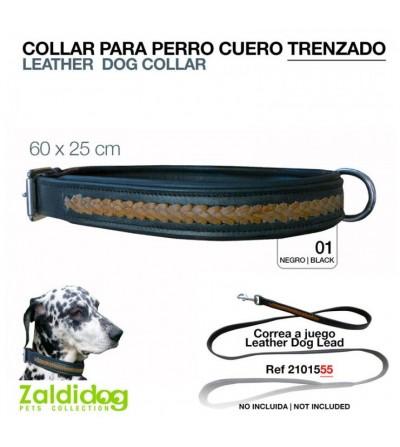 Perro Collar de Cuero Trenzado 60 cm x 25 mm Negro