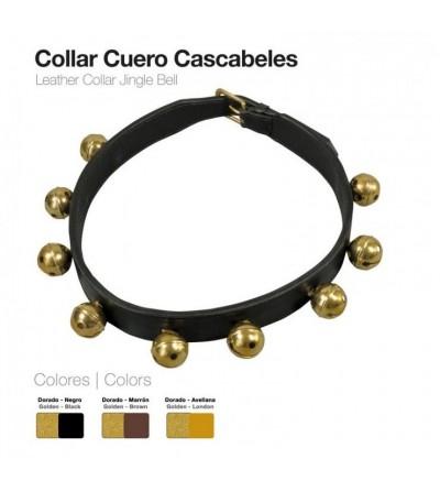 Collar de Cuero Cascabeles 4 cm
