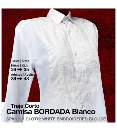 Traje Corto Camisa Bordada Blanco