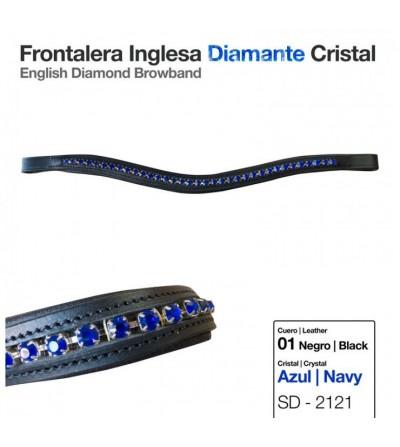 Frontalera Inglesa Diamante Cristal Azul-Negro
