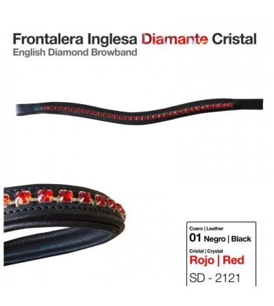 Frontalera Inglesa Diamante Cristal Rojo-Negro