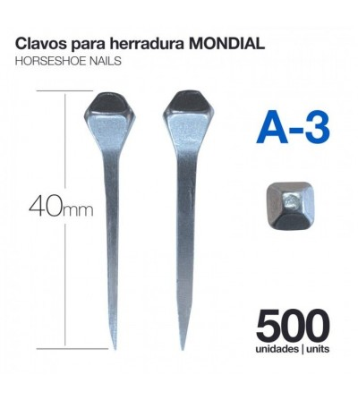 Clavos para Herradura Mondial A-3 500 Uds
