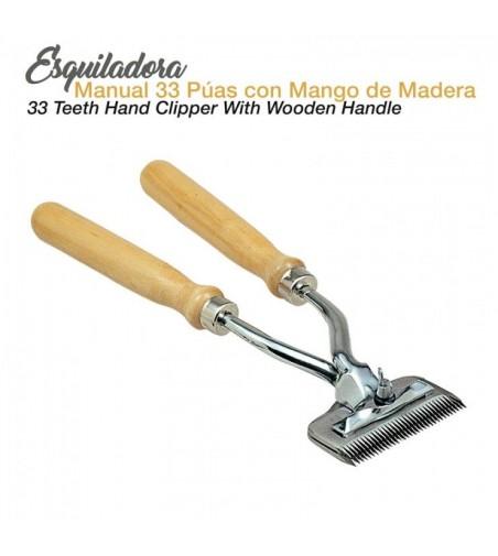 Esquiladora Manual de 33 Puas con Mango Madera