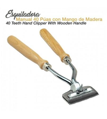 Esquiladora Manual 40 Púas Mango de Madera