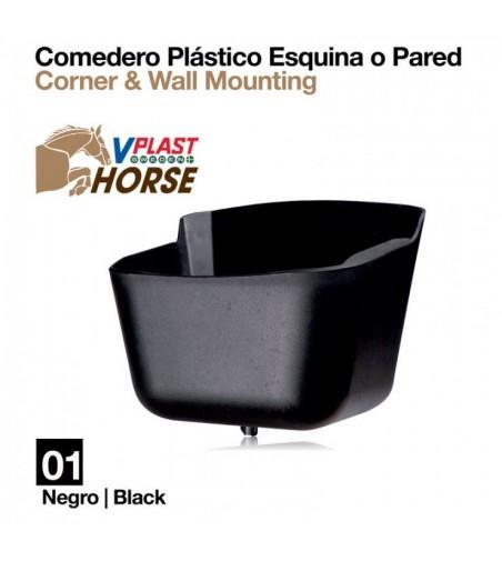 Comedero de Plástico Esquina o Pared VA00037 Negro