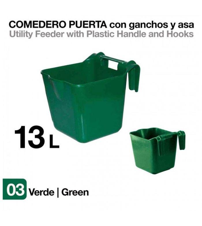 Comedero de Puerta con Ganchos y Asa Verde 13 litros