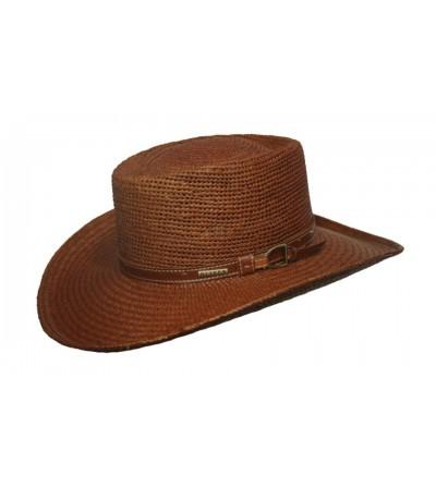 Sombrero Gambler Pánama Bricoc Marrón con Montana