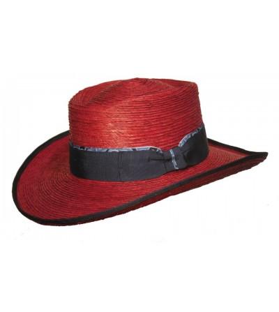Sombrero Gambler Palma Burdeos Lazo Vivo