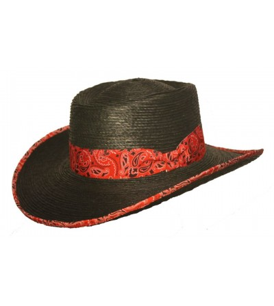 Sombrero Gambler Palma Negra Lazo Vivo