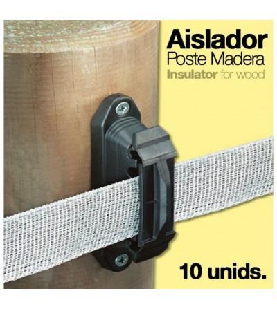 Pastor: Aislador C/3 para Poste Madera (10 Uds)