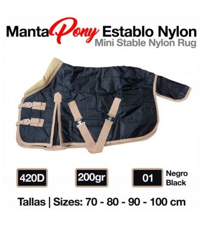 Manta Pony Establo Nylon 420D 200 gr Negro