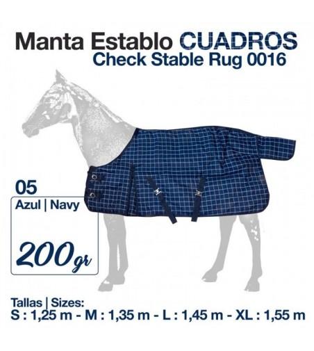 Manta Establo Cuadros Azul 0016 200 gr