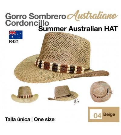 Sombrero Paja Australiano Cordoncillo Beige