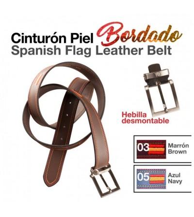 Cinturón Piel Bandera de España Bordada