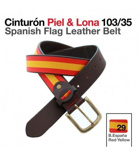 Cinturón Piel/Lona Bandera Española