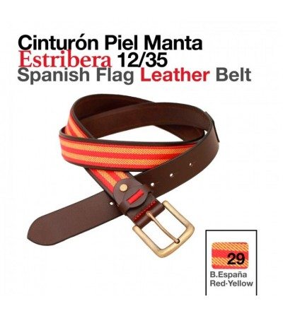Cinturón Piel Manta Estribera Bandera España