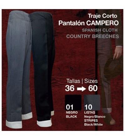 Traje Corto: Pantalón Campero Negro/Listas