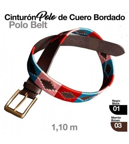 Cinturón Polo de Cuero Bordado
