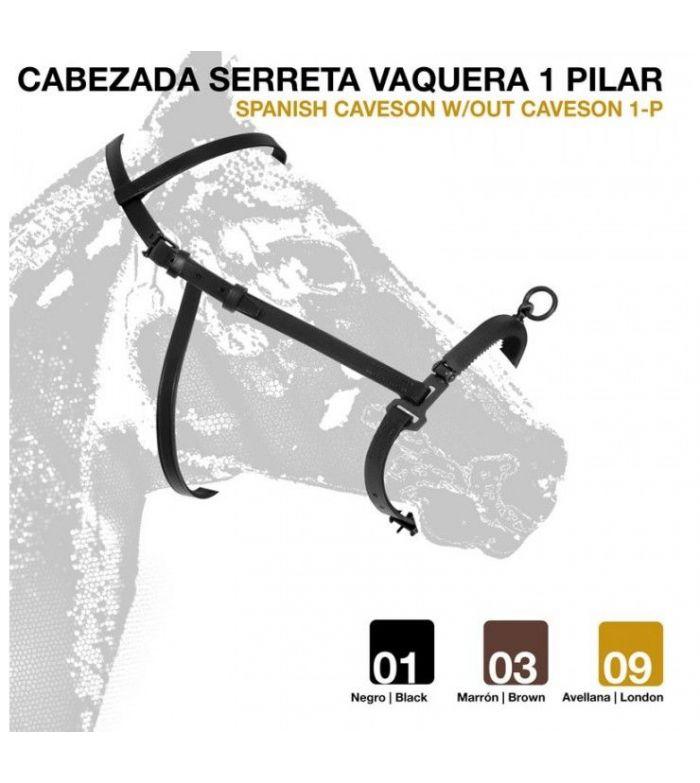 Cabezada de Dar Cuerda con Serreta Vaquera Forrada 1 Pilar