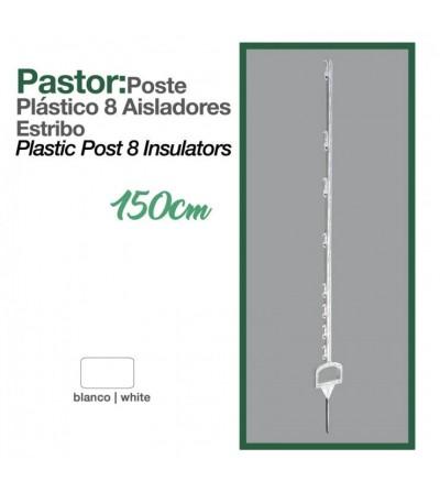 Pastor: Poste de Plástico 8 Aisladores 1.5 m