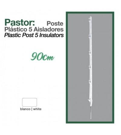 Pastor: Poste de Plástico 5/Aisladores 90 cm