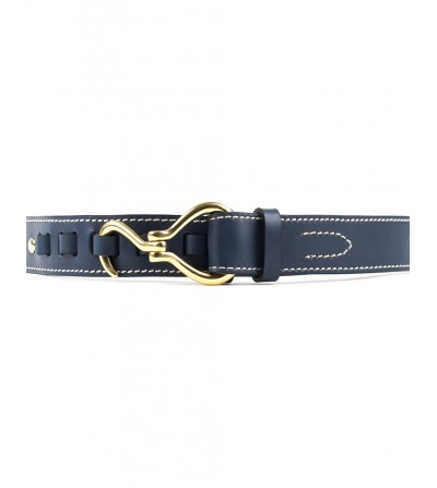 Cinturón Texas Cuero Azul Hebilla Oro