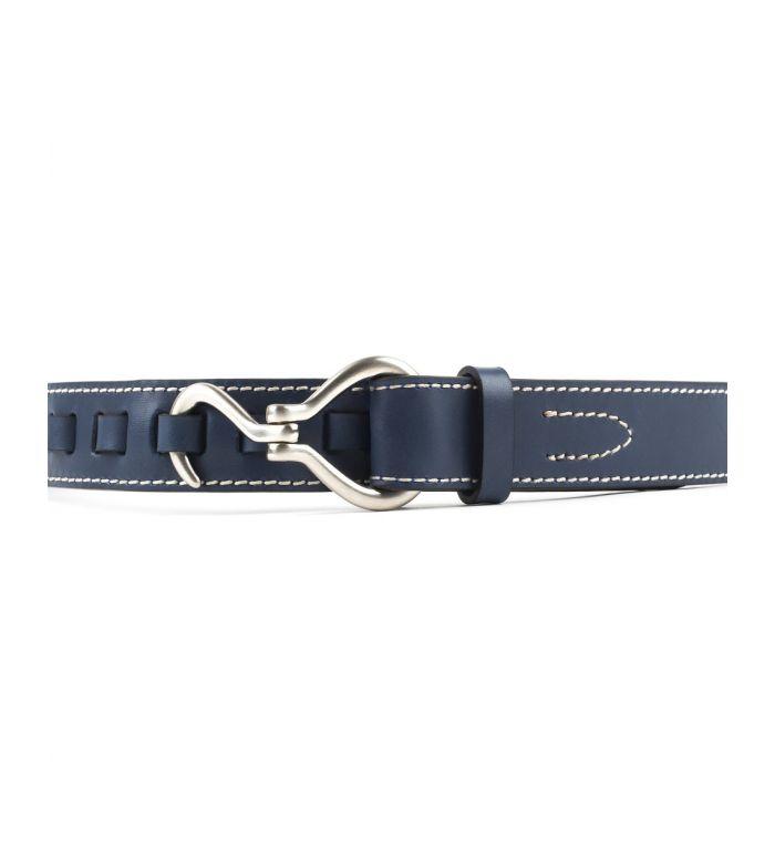 Cinturón Texas Cuero Azul Hebilla Níquel