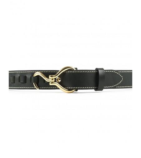Cinturón Texas Cuero Verde Hebilla Oro