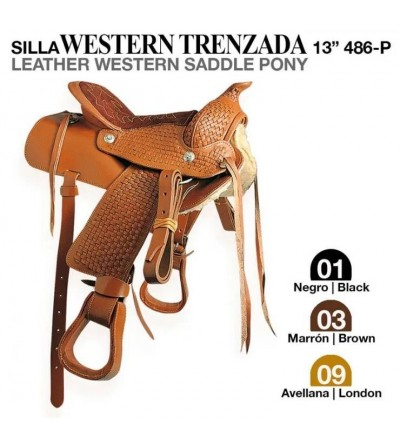 "Silla Western Completa Trenzada Cadete 13"""