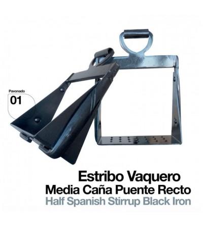 Estribo Vaquero 1/2 Caña Puente Recto Pavonado