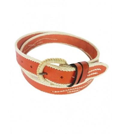 Cinturón Costura Borde Piel Natural