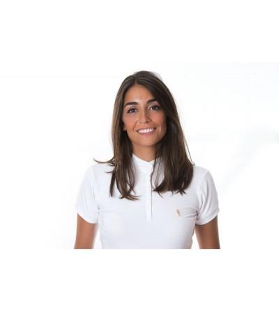 Polo de Competición M/C Mujer Blanco-Topitos Beige