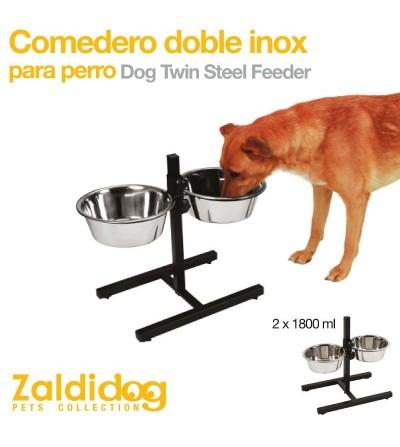 Perro Comedero-Bebedero Doble Inoxidable
