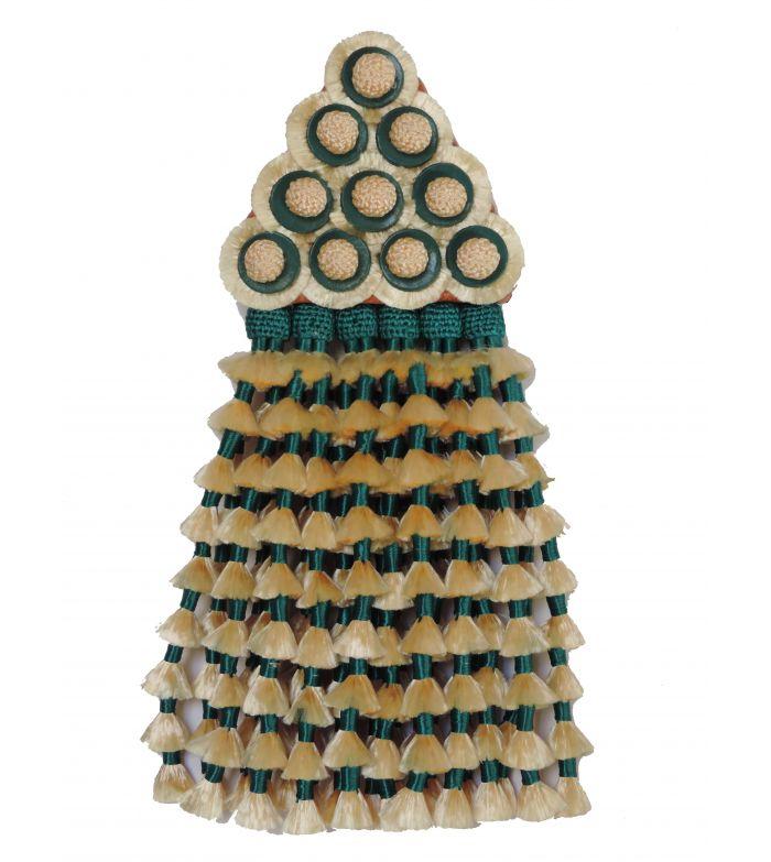 Mosquero de Seda Beige/Verde Esmeralda Premiun