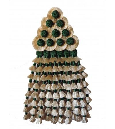 Mosquero de Seda Beige/Verde Esmeralda Tradicional