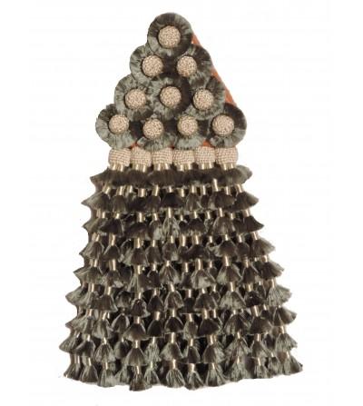 Mosquero de Seda Gris Oscuro/Beige Tradicional