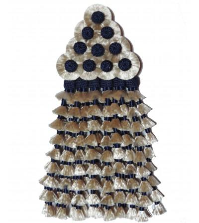 Mosquero de Seda Beige/Azul Tradicional
