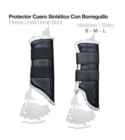 Protector Cuero Sintético con Borreguillo Negro
