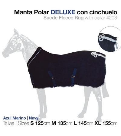 Manta Polar Deluxe con Cinchuelo Azul