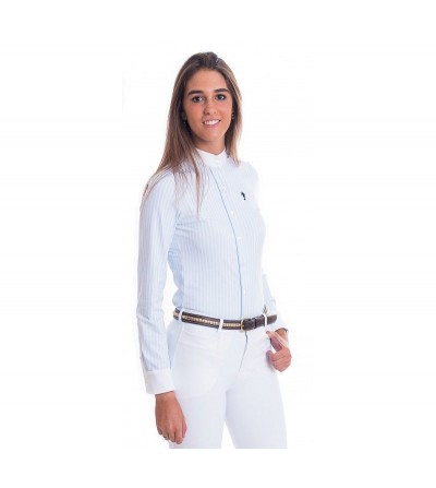 Camisa Competición Mujer Lycra Raya Azul