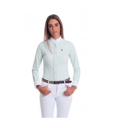 Camisa Competición Mujer Lycra Raya Verde