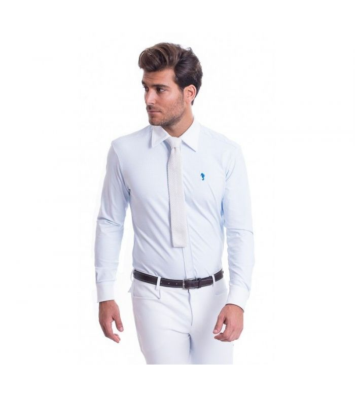 Camisa de Competición Hombre Cuadros Azul