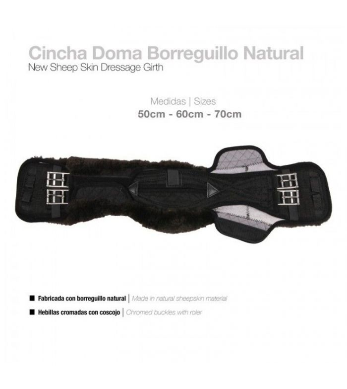Cincha Doma Deluxe Borreguillo Natural Negra